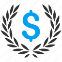 award, business, finance, financial, laurel wreath, quality, winner icon