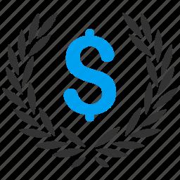 award, business, finance, financial, laurel wreath, quality, winner icon