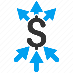 aggregate, collect, combine payments, financial, income, money transfer, payment broker icon