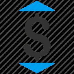 bid down, dollar, increase, money, price up, reduce, set rate icon