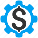 business, development price, dollar, factory, gear, money, settings icon
