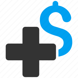 add dollar, cross, finance, health care, medical business, payment, plus icon