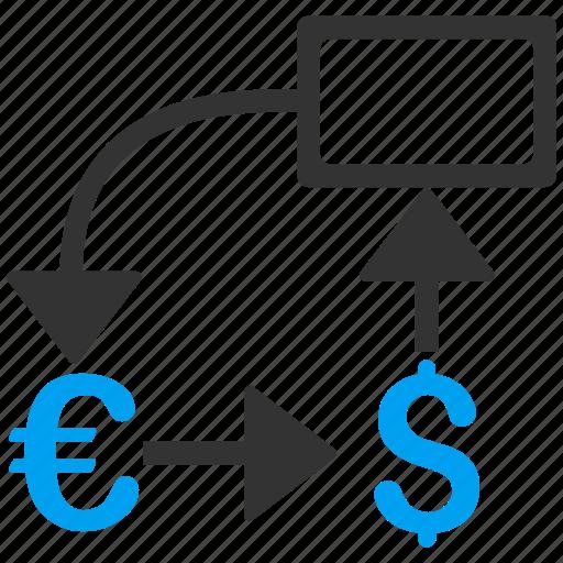 business report, cashflow, dollar, euro, flow chart, money, scheme icon