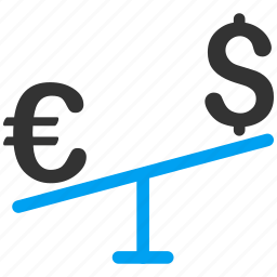 currency, dollar, euro, exchange, forex market, money, swing icon