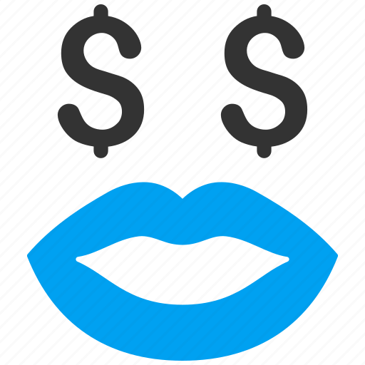 hustler, kiss, lips, pay, prostitution, smile, smiley icon