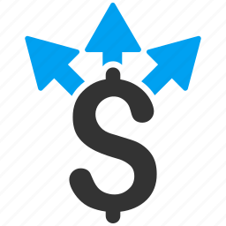 business, divide, dollar, finance, income, share money, split payment icon