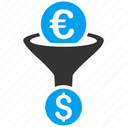 conversion, currency exchange, dollar, efficiency, euro, filter, funnel icon