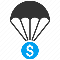 fall, finance, financial insurance, money, parachute, protection, safety icon