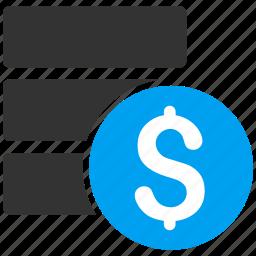data server, database, dollar, finance, financial, money, storage icon