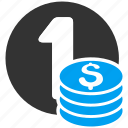 cash, coin column, coins, currency, money, one dollar, stack icon