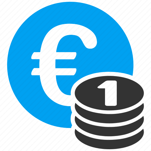 business, coin stack, coins, european, investment, money, one euro icon