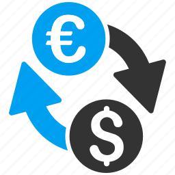 change, currency exchange, dollar, euro, finance, forex market, money icon
