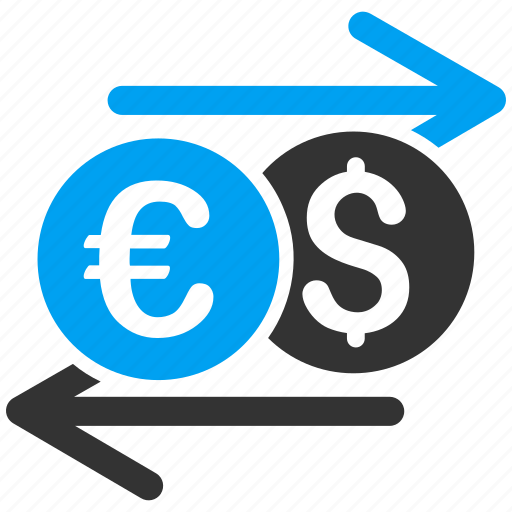 currency exchange, dollar, euro, finance, forex market, money, swap icon