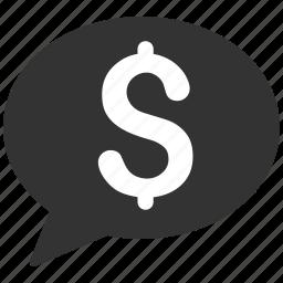 balloon, bid, bubble, comment, dollar, message, money transaction icon