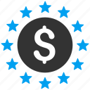 coin, dollar stars, finance, money, prosperity, shine, success icon