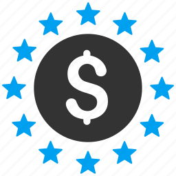 coin, dollar stars, finance, money, prosperity, shine, success icon