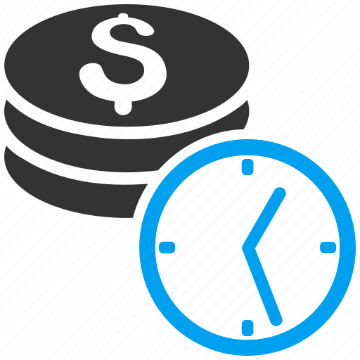 banking, clock, coins, dollar credit, money, recurring payment, time icon