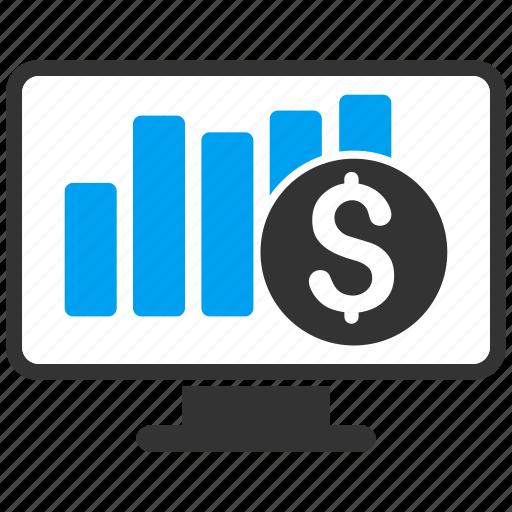 bar chart, desktop, monitor, monitoring, report, screen, stock market icon