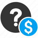 balance, currency, dollar, finance, money, query, question icon