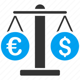 balance, currency exchange, dollar, euro, money change, scales, weight icon