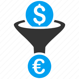 currency conversion, dollar, euro, exchange, filter, funnel, money icon