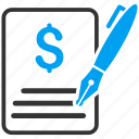 agreement, business, check, edit contract, signature, subscribe, write icon
