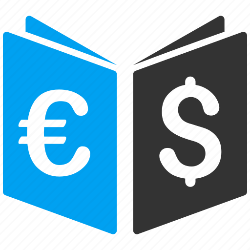 business, catalog, dollar, euro, finance, money, record book icon
