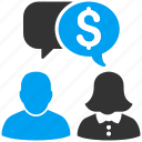 business, communication, financial chat, message, payment, talk, transactions icon