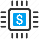 broker, business, chip, dollar, money aggregator, payment processor, price icon