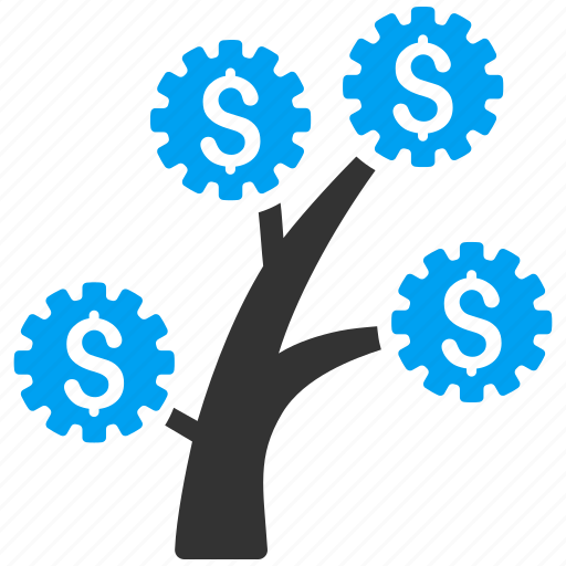 business project, finance, industrial startup, money tree, plant, technology, venture company icon