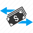 banking, banknotes, cash flow, financial transactions, payments, payouts, spend money icon