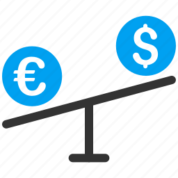 balance, compare money, currency exchange, dollar, euro, forex market, scales icon