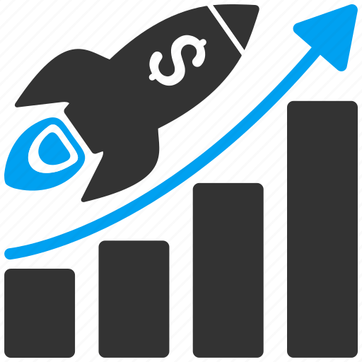 bar chart, business project, diagram, graph, rocket launch, start, startup icon