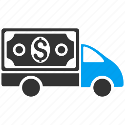 cash delivery, collector car, dollar, finance, money transfer, payment, transport icon