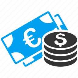 cash, currency, dollar, euro, finance, financial, money icon