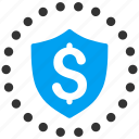 finance, financial guard, money, protection, safety, security business, shield icon