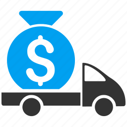 delivery, finance, financial, logistics business, money shipment, transfer, truck icon