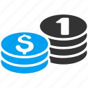 bank, cash, coin stacks, finance, money, one dollar, payment icon