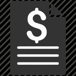 check, cheque, invoice, page, price description, prices, quote icon
