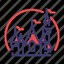 amusement park, castle, disney, disneyland, fairytales, fantasy icon