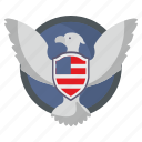bird, eagle, flag, fly, shield, usa icon