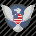 bird, eagle, flag, fly, shield, usa