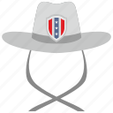 cowboy, hat, national, shield, usa icon