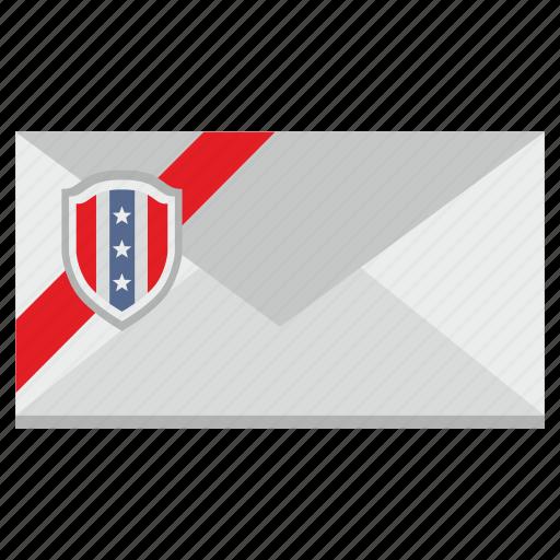 flag, letter, national, news, shield, usa icon