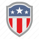 flag, red, shield, stripes, usa, white icon