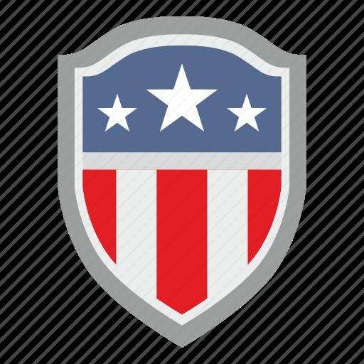 flag, red, shield, stripes, usa, white icon
