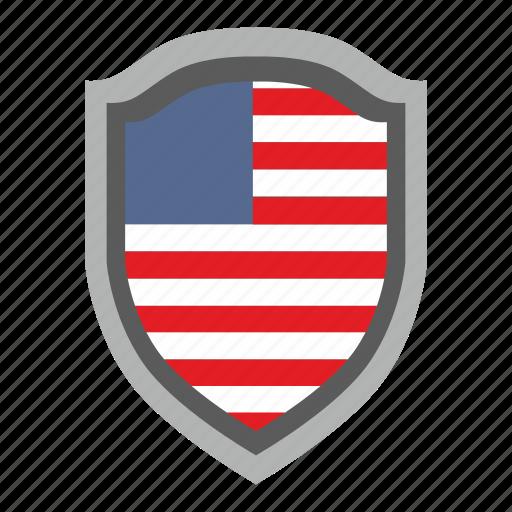 flag, national, shield, usa icon