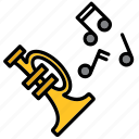 instrument, jazz, music, musical, note, trumpet icon