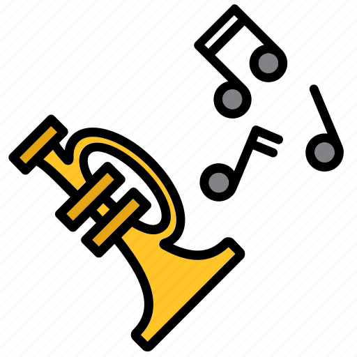 instrument, jazz, music, musical, note, trumpet icon
