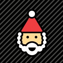 christmas, face, santa, santa claus, xmas icon